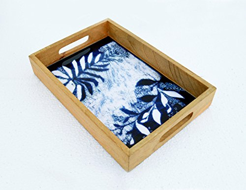 Wooden Tray Shibori print Indigo tray Tie dye Pattern Resin finish Lacquered frame No glass Serving tray Gift 10X15 inches 10X15