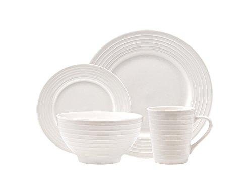 Godinger 16-piece Centrus White Porcelain Dinnerware Set With Ribbed Lined Trim Service For 4