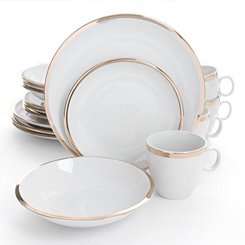 Isaac Mizrahi Skyline 16 Piece Porcelain Dinnerware Set Gold and White