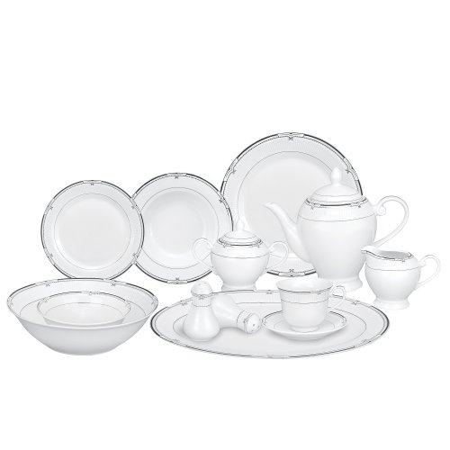 Lorren Home Trends 57-Piece Porcelain Dinnerware Set Rio Service for 8