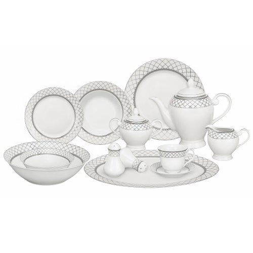 Lorren Home Trends 57-Piece Porcelain Dinnerware Set Verona Service for 8