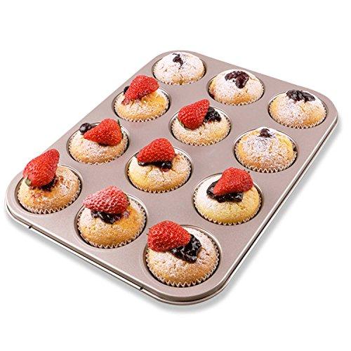 Muffin Pan 12 Cup Mini Nonstick Carbon Steel Cupcake Pan Gold