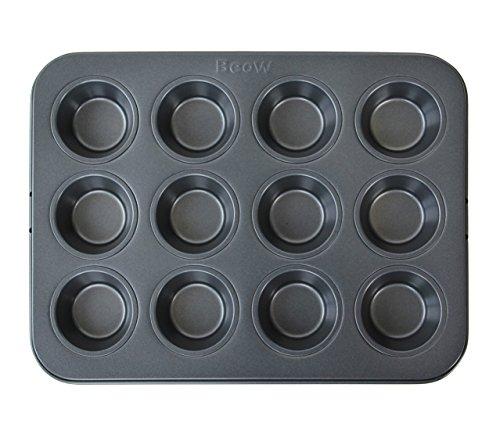 12-Cup Non-stick Muffin Cupcake Baking PanDishwasher&Microwave Safe-Black