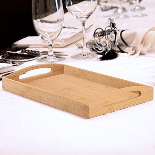 Beige Bamboo Butler Serving Tray w Handles  Rectangular Breakfast Server Serveware Platter - MyGift