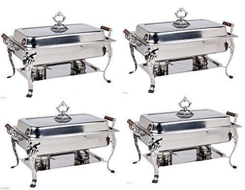 4 PACK 8QT CLASSIC Chafer Rectangular Chafing Dish Bonus 20 MFR Rebate Catering Buffet Food Tray