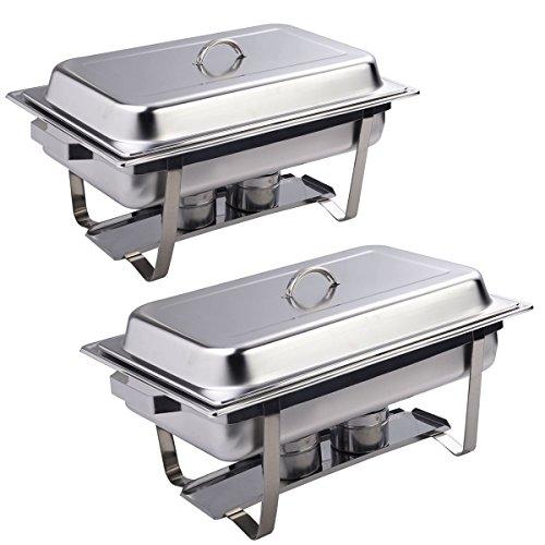 Giantex Rectangular Chafing Dish Stainless Steel Full Size 2 Pack of 8 Quart