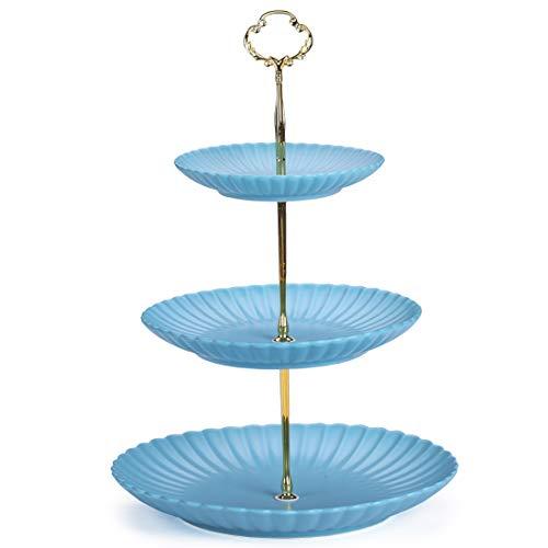 BonNoces 3-Tier Matte Ceramic Cupcake Stand - Petal Shaped Serving Tray Dessert Cake Stand - Wedding Birthday Party Serving Platter for Fruit Buffet Server Blue