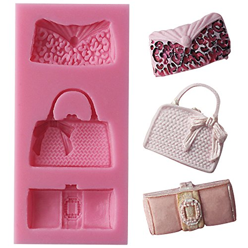 Funshowcase Designer Handbag Clutch Bags and Purses Silicone Candy Mold for Cake Decoration Cupcake Decorate Polymer Clay Crafting