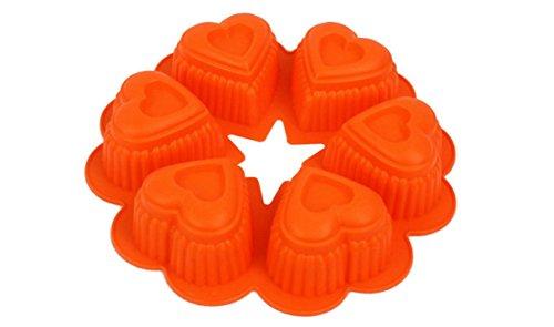 JKLcom Silicone 6 with Heart-shaped Cake Mold for Cake Biscuit Pudding Handmade Soap-Color Random Send