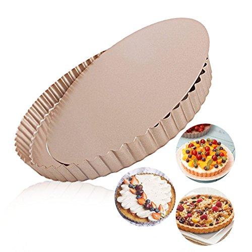 Tart Pan Round Nonstick 95 inch Removable Loose Bottom Quiche Pie Pan Gold by LUFEIYA