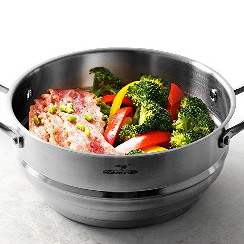 HOMI CHEF Space-Saving 3-RIDGE Universal Steamer Insert Cookware NICKEL FREE Stainless Steel 3-Ridge for 678 Pots - Vegetable Steamer Inserts for Pots - Kitchen Steamer Basket - Veggie Steamer