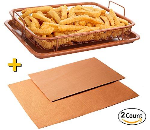 Crisper Copper Baking Sheet Air Fryer - Deluxe Multi-Purpose Copper Crisper Chef Pan Sheet with Non Stick Mesh Grill Crisper Tray - Oven Safe Non-Stick Square Pan Design