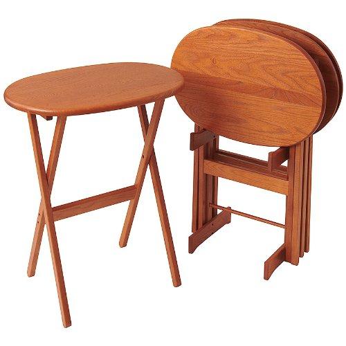 Manchester Wood Oval Folding TV Tray Table Set of 4 - Golden Oak
