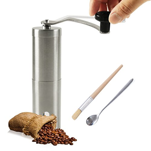 Manual Coffee Grinder Brushed Stainless Steel Hand Crank Mill with Spoon and Brush - Perfect for Home Traveling Camping