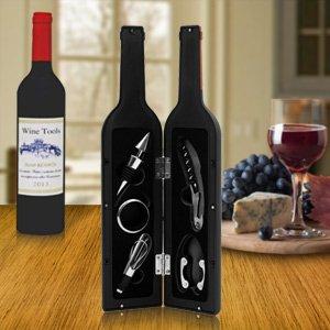 Deluxe Wine Bottle Git Set - Bottle Opener Stopper Drip Ring Foil Cutter and Wine Pourer