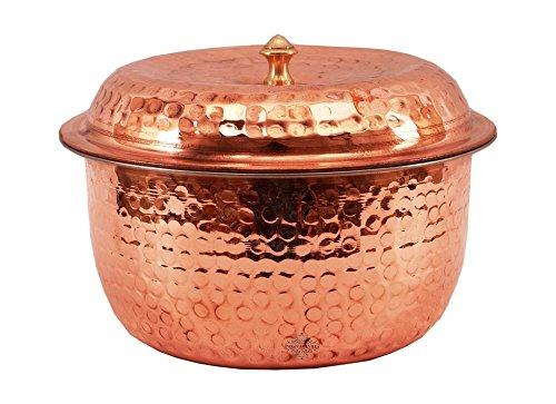 IndianArtVilla Handmade Steel Copper Casserole 1100 ML For Dish Serving Resta