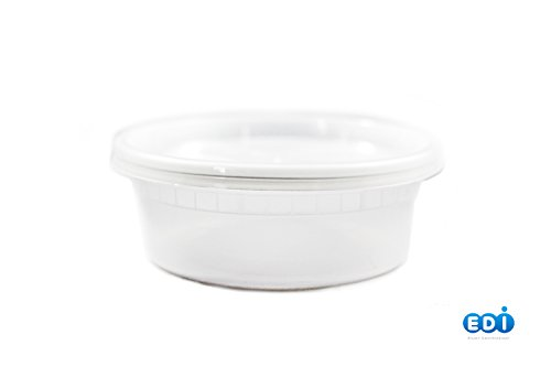 EDI Plastic Food Storage Plastic Containers with Lids Set Pack of 25 Deli Containers 8 oz