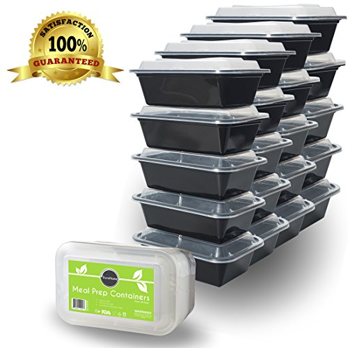 """Food Containers with Lids - 24oz Rectangular Microwaveable Reusable Black Plastic Meal Prep Container Premium Quality Set of 20 - DuraHomeâ""""¢"""