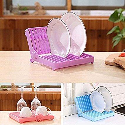 NUMBERNINEKitchen Plastic Foldable Dish Plate Drying Rack Organizer Drainer Storage Holderplastic kitchen plates Pink