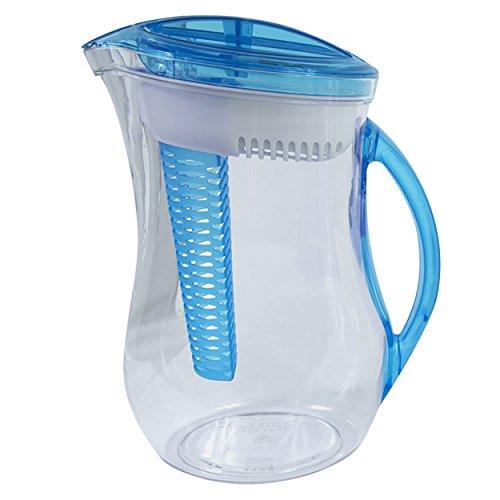 Cool Gear Water Filter Filtration Infuser Pitcher Plus Fruit Tea Flavor Infusion 244 LIter Blue