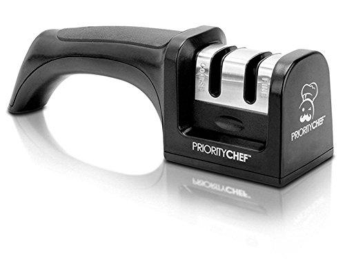 PriorityChef Knife Sharpener 2 Stage Sharpening System for Knives Black