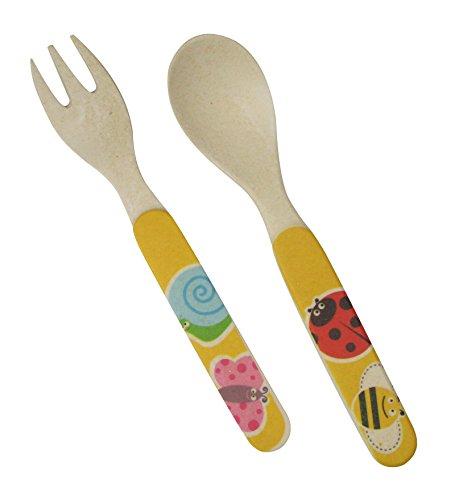 Ecobamboo Ware KidsBabiesToddlers Bamboo Utensil Set Fork and Spoon Bug Theme