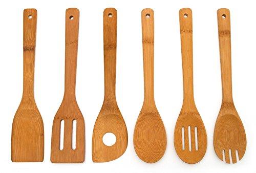 Heselian Kitchen Cooking Bamboo Utensils Set of 6