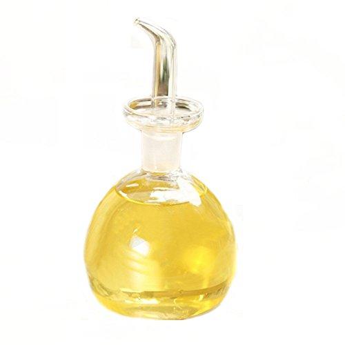 ELETON Round Pot Shape Oil and Vinegar Bottle Glass Olive Oil Dispenser Bottles Storage 8 oz Cruet