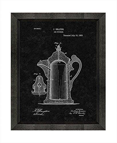 Ice Pitcher Patent Art Black Matte Print in a Beveled Black Wood Frame 16 x 20