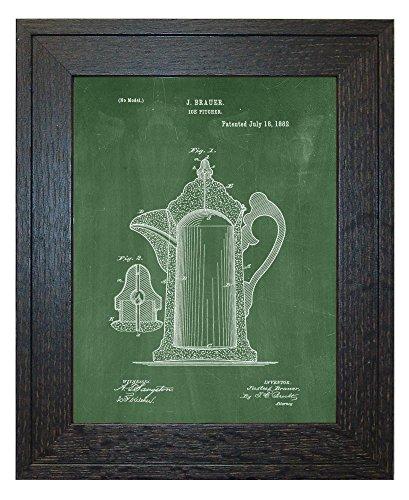 Ice Pitcher Patent Art Green Chalkboard Print in a Rustic Oak Wood Frame 85 x 11