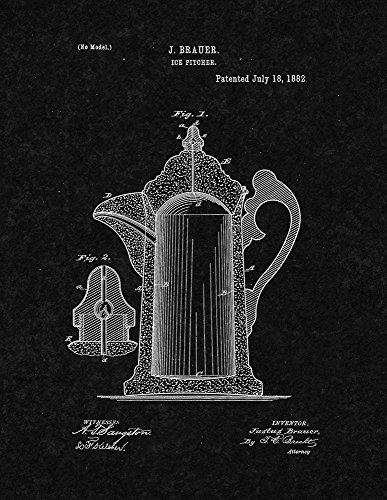 Ice Pitcher Patent Print Art Poster Black Matte 24 x 36