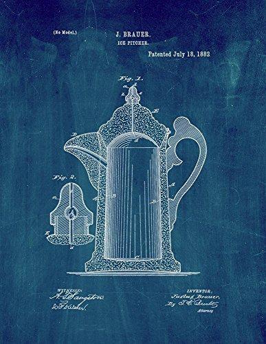Ice Pitcher Patent Print Art Poster Midnight Blue 16 x 20