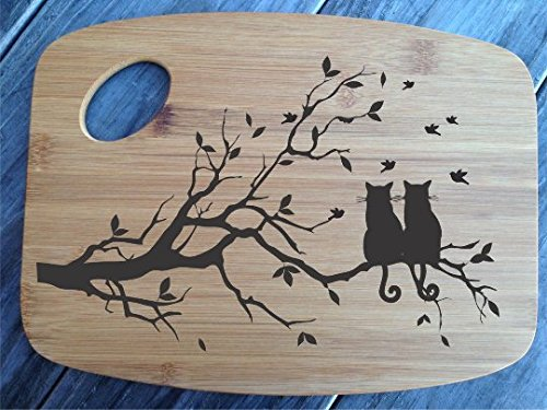 Cutting Board Bamboo Personalized Two Cats in a Tree