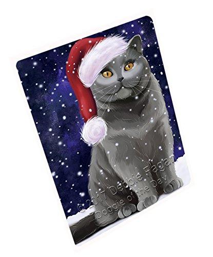 Let It Snow Christmas Happy Holidays British Shorthair Cat Cutting Board CUTB057 Small