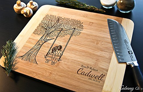 Personalized Cutting Board Engraved Bamboo Chopping Block HDS - Tree Swing