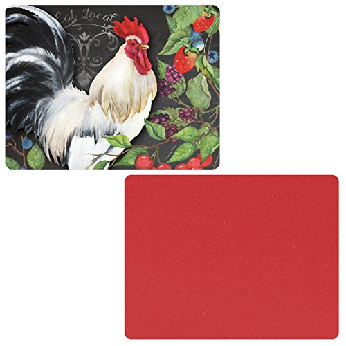CounterArt RedWhite Rooster Flexible Cutting Mat Set of 2