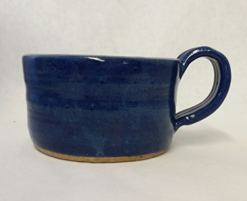 Aunt Chris Pottery - Hand Made Clay - Soup Bowl - With Handle - You Can Spoon It Out - Drink It Right Of The Bowl - Blue Glazed Colored