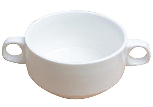 Moyishi White Stoneware Espresso Stoneware Soup Bowls With Handles