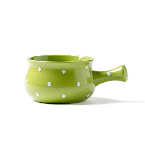 WAIT FLY Lovely Dot Shaped Ceramic Soup Bowl with Handle Noodle Bowl Dessert Bowl Microwave Safe