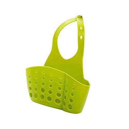 Kangnice PVC Racks Kitchen Sink Holder Faucet Storage Bag Basket Drain Sponge Handy Tool Green