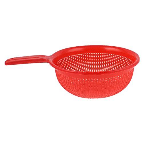 uxcell Plastic Kitchen Vegetable Rice Drain Basket Colander Strainer Red