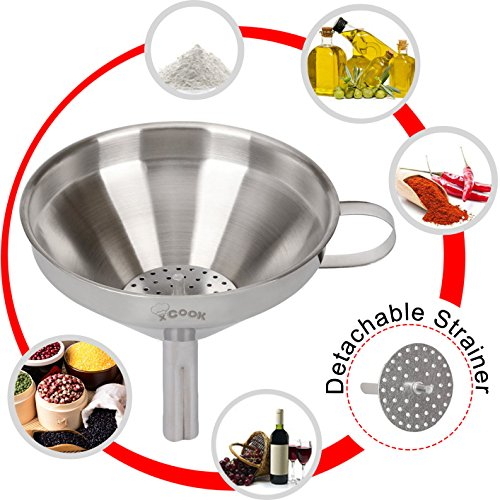 XCOOK Stainless Steel Kitchen Funnel With Detachable Strainer Filter For Transferring Essential Cooking Oil Liquid Fluid Dry Ingredients and Powder 49 Inches