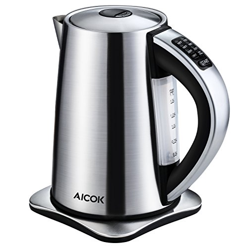 Aicok Stainless Steel Cordless Electric Water Kettle with 6 Preset Temperature Settings - 17 Liters
