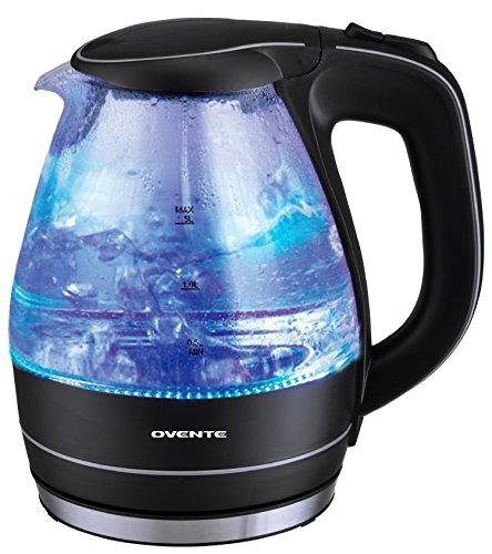 Ovente 15 Liter BPA Free Glass Cordless Electric Kettle Black KG83B