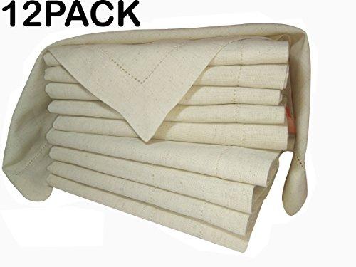 PACK of 12Flax Cotton Designer Dinner Napkins20x20Hemstitched Natural Color by Linen Clubs - Premium Linen Look - 20 Linen 80 Cotton Natural Fiber