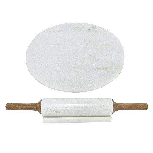 BENZARA Marble Board With Rolling Pin-Benzara  BM121776