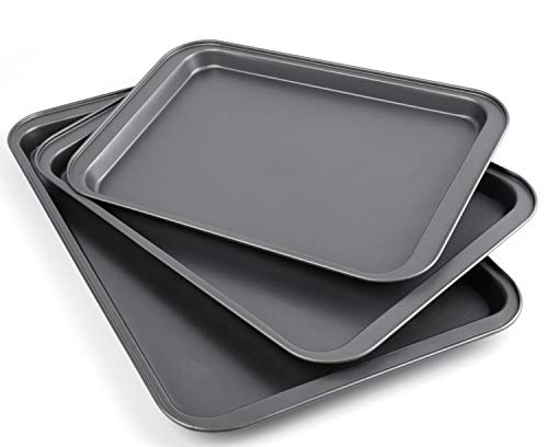 Yesland 3 Piece Non-Stick Cookie Sheet Professional Square Carbon Steel Bakeware Set Baking Pans for Kitchen Use