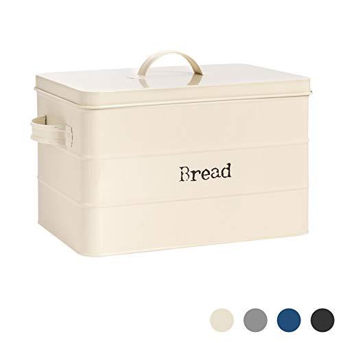 Harbour Housewares Industrial Bread Bin - Vintage Style Steel Kitchen Storage Caddy with Lid - Cream