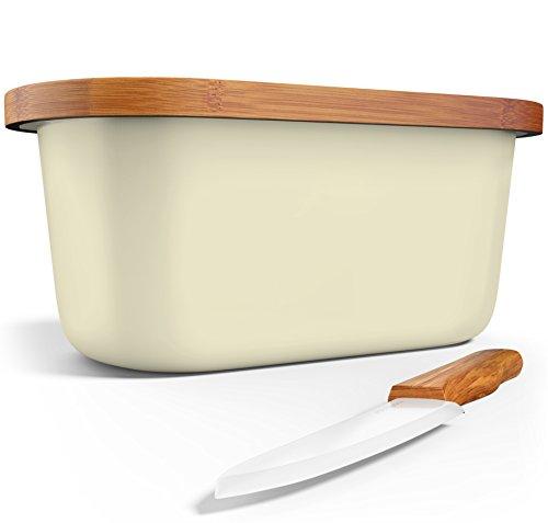 Bamboo Bread Box  Wood Cutting Board  Bamboo Ceramic Knife - No Logo - Food Storage - Non Toxic - Eco Friendly