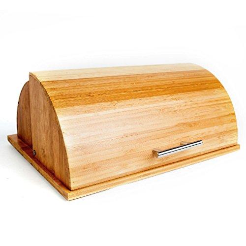 Fancy Quality Roll Top Bamboo Breadbox w Built in Cutting Board 155 x 126 x 65